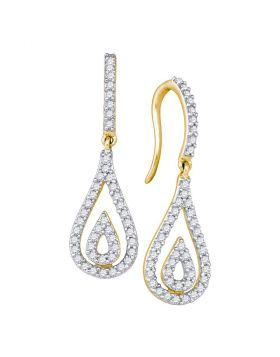 10kt Yellow Gold Womens Round Diamond Teardrop Dangle Earrings 1/2 Cttw