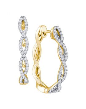 10kt Yellow Gold Womens Round Diamond Twist Hoop Earrings 1/2 Cttw