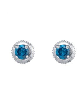 10k White Gold Womens Blue Color Enhanced Round Diamond Solitaire Screwback Stud Earrings 1/2 Cttw