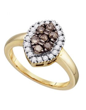 10k Yellow Gold Womens Cognac-brown Color Enhanced Cluster Oval-shape Diamond Ring 1/2 Cttw