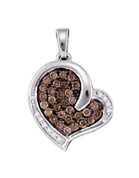 10kt White Gold Womens Round Cognac-brown Color Enhanced Diamond Heart Love Pendant 1/2 Cttw
