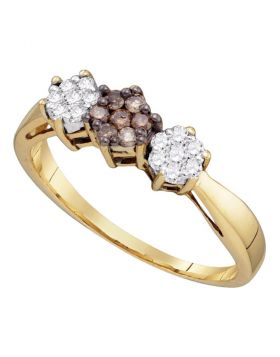 10kt Yellow Gold Womens Round Cognac-brown Color Enhanced Diamond Cluster Ring 1/4 Cttw