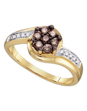 10kt Yellow Gold Womens Round Cognac-brown Color Enhanced Diamond Flower Cluster Ring 1/3 Cttw