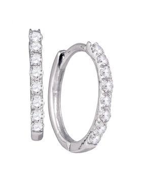 10kt White Gold Womens Round Diamond Hoop Earrings 1/3 Cttw