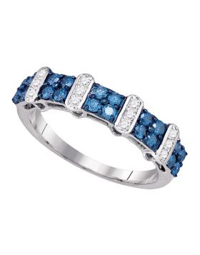 10kt White Gold Womens Round Blue Color Enhanced Diamond Band Ring 3/4 Cttw