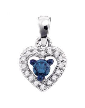 10kt White Gold Womens Round Blue Color Enhanced Diamond Heart Love Pendant 1/5 Cttw