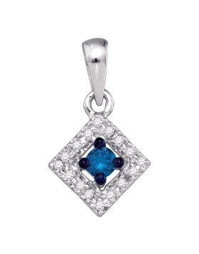 10kt White Gold Womens Round Blue Color Enhanced Diamond Square Pendant 1/5 Cttw