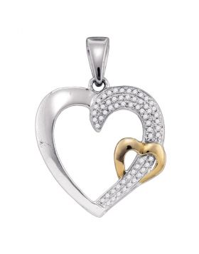 Sterling Silver Womens Round Diamond 2-tone Heart Pendant 1/6 Cttw