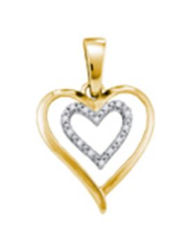 Yellow-tone Sterling Silver Womens Round Diamond Double Heart Pendant 1/20 Cttw