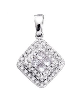 14kt White Gold Womens Princess Diamond Square Frame Cluster Pendant 1/2 Cttw