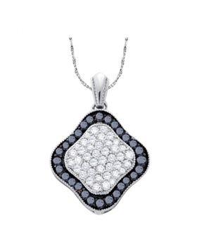 10kt White Gold Womens Round Black Color Enhanced Diamond Cluster Pendant 1.00 Cttw