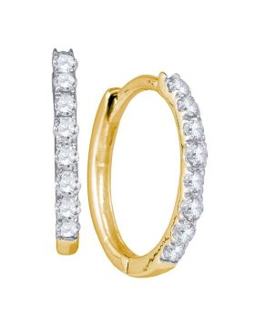 10kt Yellow Gold Womens Round Diamond Hoop Earrings 1/3 Cttw