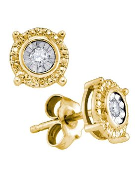 Yellow-tone Sterling Silver Womens Round Diamond Value Stud Earrings 1/20 Cttw