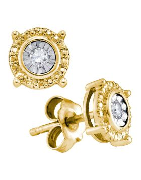 Yellow-tone Sterling Silver Womens Round Diamond Solitaire Circle Frame Stud Earrings 1/10 Cttw