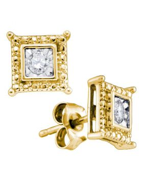 Yellow-tone Sterling Silver Womens Round Diamond Solitaire Square Stud Earrings