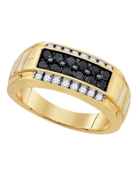Yellow-tone Sterling Silver Mens Round Black Color Enhanced Diamond Rectangle Band Ring 1.00 Cttw