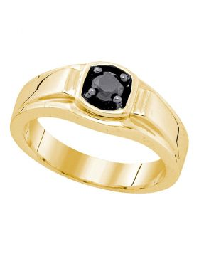 Sterling Silver Yellow-tone Mens Solitaire Black Diamond Wedding Ring 1/2 Cttw Sizes