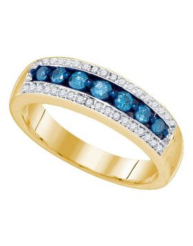 10kt Yellow Gold Womens Round Blue Color Enhanced Diamond Band Ring 1/2 Cttw