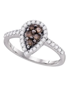 10kt White Gold Womens Cognac-brown Color Enhanced Diamond Cluster Ring 1/2 Cttw