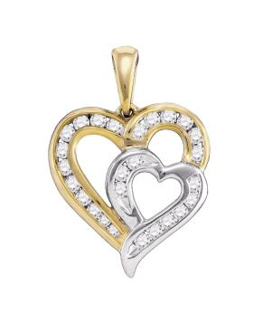 10kt Yellow Gold Womens Round Diamond Heart 2-tone Pendant 1/3 Cttw