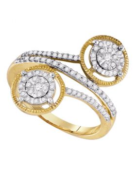 10kt Yellow Gold Womens Round Diamond Bypass Circle Cluster Ring 1/3 Cttw