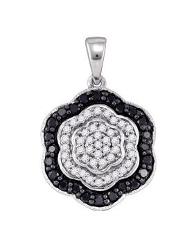 10kt White Gold Womens Round Black Color Enhanced Diamond Hexagon Cluster Pendant 1/2 Cttw