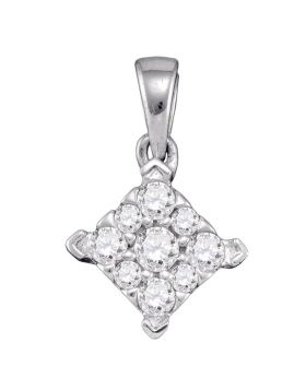 10kt White Gold Womens Round Diamond Square Cluster Pendant 1/4 Cttw