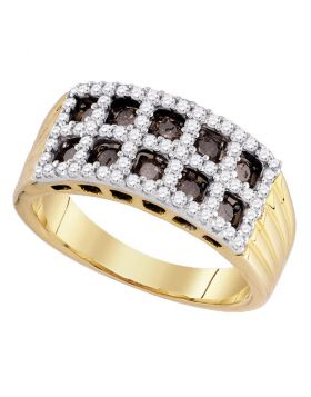 10kt Yellow Gold Womens Round Cognac-brown Color Enhanced Diamond Lattice Band Ring 3/4 Cttw
