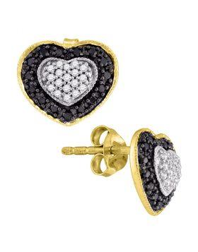 10kt Yellow Gold Womens Round Black Color Enhanced Diamond Heart Stud Earrings 1/2 Cttw