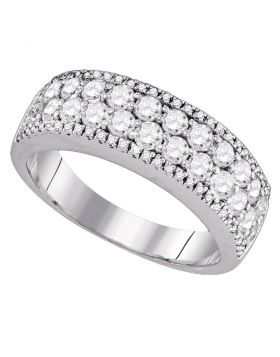 14kt White Gold Womens Round Diamond Pave-set Band Ring 1-3/8 Cttw