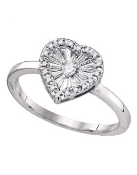 Sterling Silver Womens Round Diamond Framed Heart Love Ring 1/10 Cttw