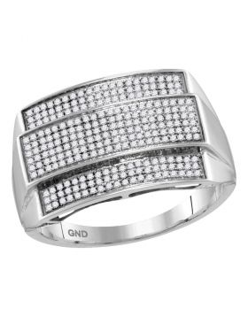10KT WHITE GOLD ROUND DIAMOND RECTANGLE CLUSTER RING 3/8 CTTW