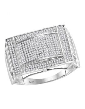 10KT WHITE GOLD ROUND PAVE-SET DIAMOND CONVEX DOME RECTANGLE CLUSTER RING 3/4 CTTW