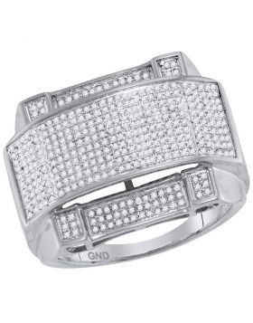 10KT WHITE GOLD ROUND DIAMOND ARCHED RECTANGLE CLUSTER RING 5/8 CTTW