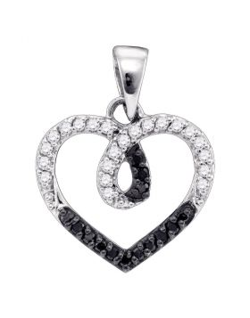 Sterling Silver Womens Round Black Color Enhanced Diamond Small Heart Pendant 1/4 Cttw