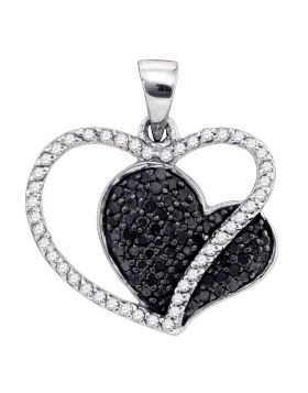 10kt White Gold Womens Round Black Color Enhanced Diamond Double Heart Pendant 3/8 Cttw