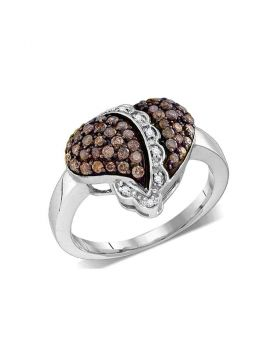 10kt White Gold Womens Round Cognac-brown Color Enhanced Diamond Heart Love Ring 5/8 Cttw