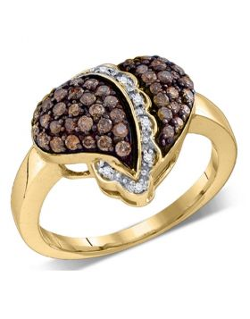 10kt Yellow Gold Womens Round Cognac-brown Color Enhanced Diamond Heart Love Ring 5/8 Cttw