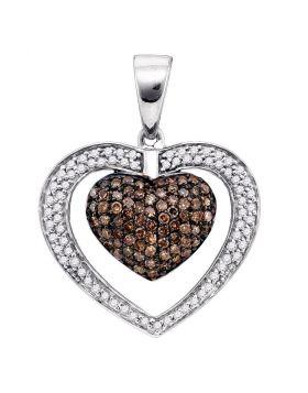 10kt White Gold Womens Round Cognac-brown Color Enhanced Diamond Double Heart Cluster Pendant 1.00 Cttw