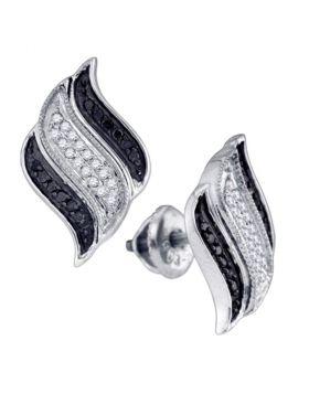 10kt White Gold Womens Round Black Color Enhanced Diamond Cascading Stud Earrings 1/4 Cttw