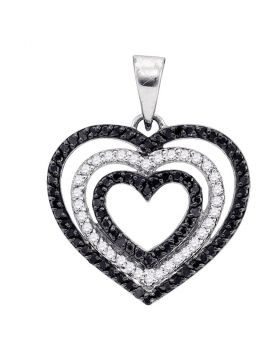 10kt White Gold Womens Round Black Color Enhanced Diamond Triple Nested Heart Pendant 5/8 Cttw
