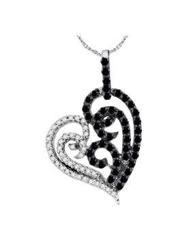 10kt White Gold Womens Round Black Color Enhanced Diamond Heart Pendant 5/8 Cttw