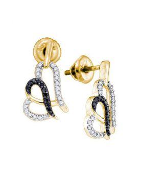 10kt Yellow Gold Womens Round Black Color Enhanced Diamond Heart Stud Earrings 1/3 Cttw