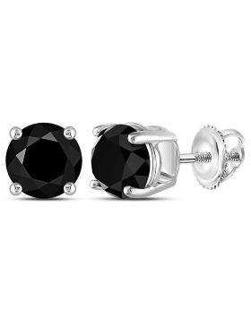 10kt White Gold Unisex Round Black Color Enhanced Diamond Solitaire Stud Earrings 5.00 Cttw