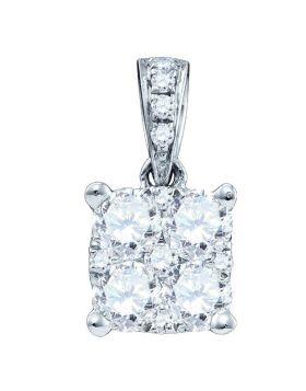 18K White Gold Womens Round Diamond Square-shape Cluster Pendant 1/5 Cttw