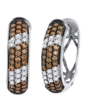 10kt White Gold Womens Round Cognac-brown Color Enhanced Diamond Hoop Earrings 1.00 Cttw