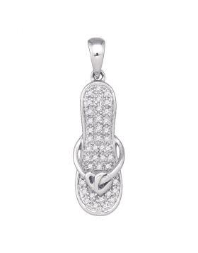 10k White Gold Round Diamond Sandal Flip Flop Womens Pendant Gold 1/8 Cttw