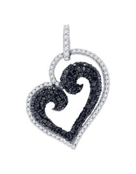 10kt White Gold Womens Round Black Color Enhanced Diamond Curled Heart Pendant 7/8 Cttw