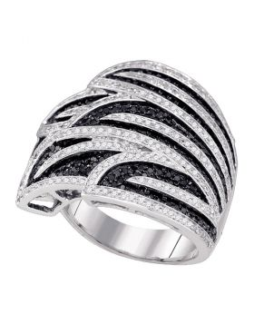 10kt White Gold Womens Round Black Color Enhanced Diamond Wide Fashion Band Ring 1-3/8 Cttw