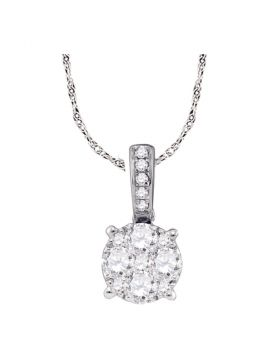 18kt White Gold Womens Round Diamond Cluster Pendant 1/2 Cttw